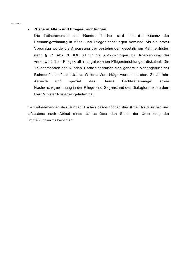 Seite 6 von 6                •   Pflege in Alten- und Pflegeeinrichtungen                    Die Teilnehmenden des Runden ...