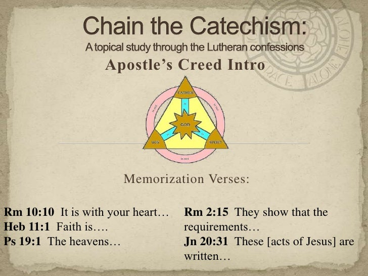 Chain the Catechism: A topical study through the Lutheran confessions<br />Apostle's Creed Intro<br />Memorization Verses:...