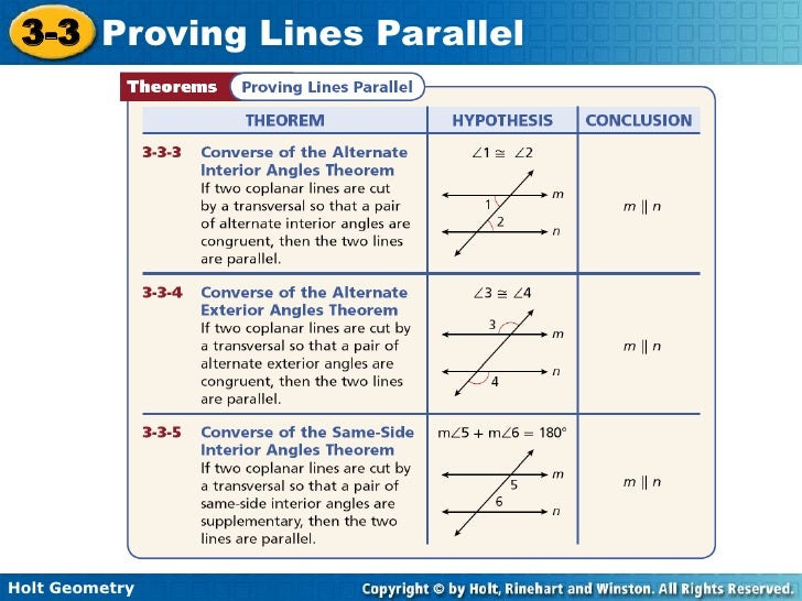 10 12 11 Holt 3 3 Proving Lines Parallel
