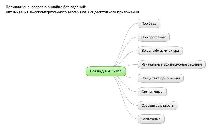 Полмиллиона юзеров в онлайне без падений:оптимизация высоконагруженного server-side API десктопного приложения            ...
