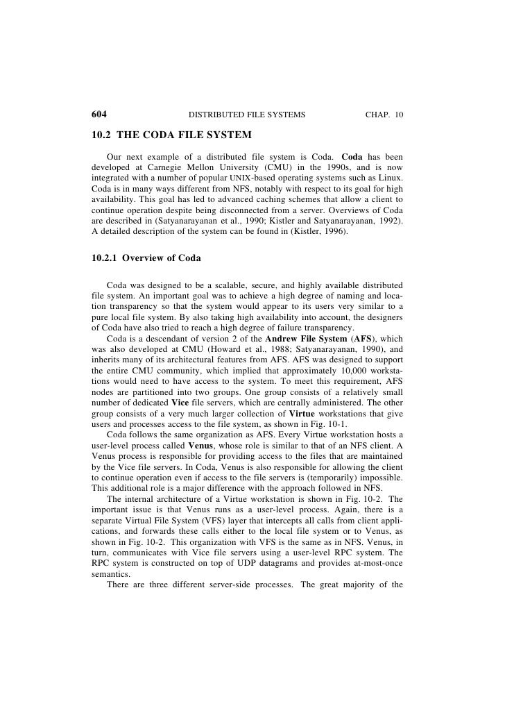 604                       DISTRIBUTED FILE SYSTEMS                        CHAP. 1010.2 THE CODA FILE SYSTEM    Our next ex...