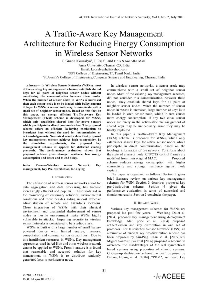 ACEEE International Journal on Network Security, Vol 1, No. 2, July 2010      A Traffic-Aware Key ManagementArchitecture f...