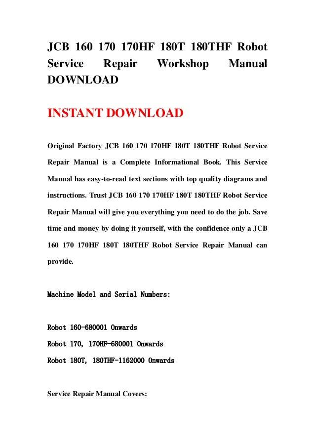 jcb 160 170 170hf 180t 180thf robot service repair workshop manual do rh slideshare net
