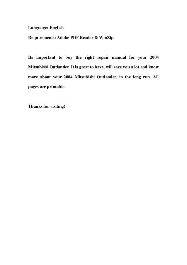 2004 mitsubishi outlander service repair workshop manual download rh slideshare net 2018 Mitsubishi Outlander 2018 Mitsubishi Outlander