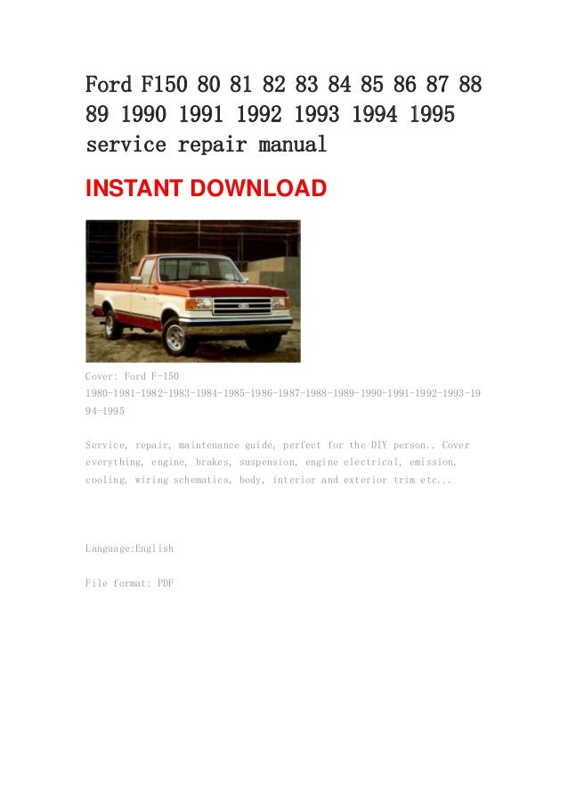 Outstanding 1986 Ford F150 Owners Manual Ensign - Electrical Diagram ...