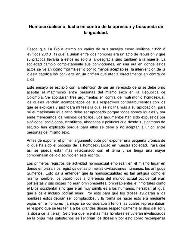 Argumentos a favor y en contra del matrimonio homosexual en chile