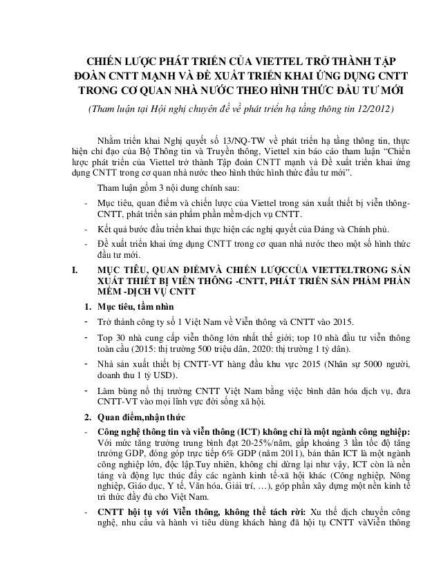 CHIẾN LƯỢC PHÁT TRIỂN CỦA VIETTEL TRỞ THÀNH TẬP ĐOÀN CNTT MẠNH VÀ ĐỀ XUẤT TRIỂN KHAI ỨNG DỤNG CNTT TRONG CƠ QUAN NHÀ NƯỚC ...