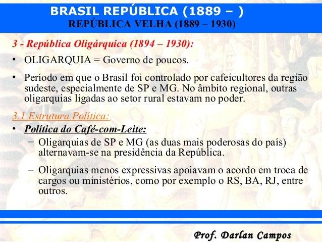BRASIL REPÚBLICA (1889 – ) Prof. Darlan CamposProf. Darlan Campos REPÚBLICA VELHA (1889 – 1930) 3 - República Oligárquica ...