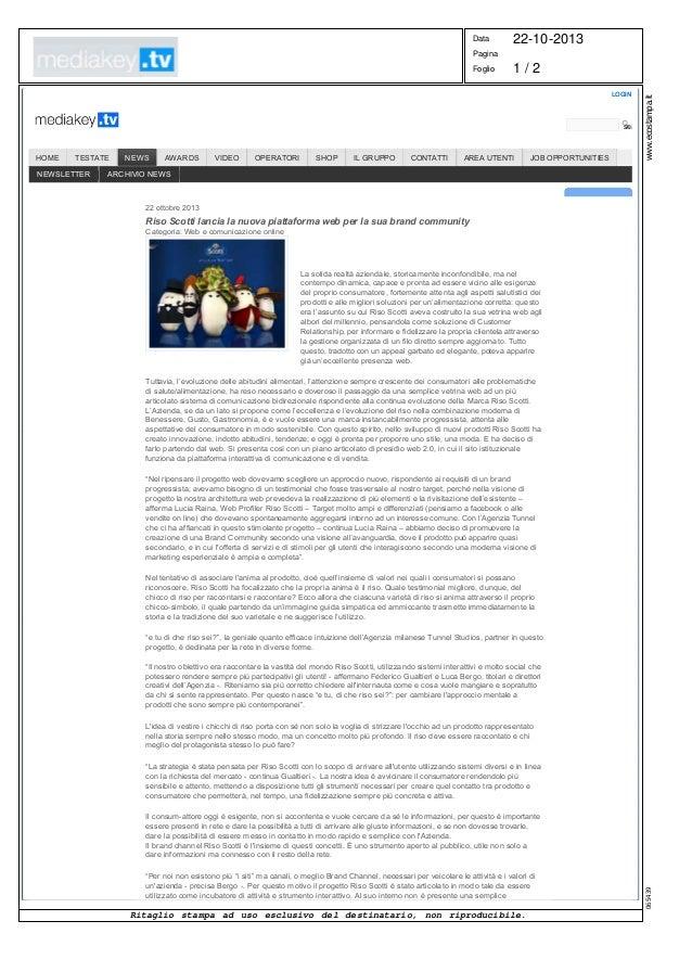 Data  22-10-2013  Pagina  1/2 LOGIN   www.ecostampa.it  Foglio  search  TESTATE  NEWSLETTER  NEWS  AWARDS  VIDEO  OPERAT...