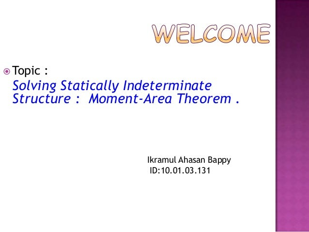  Topic  :  Solving Statically Indeterminate Structure : Moment-Area Theorem .  Ikramul Ahasan Bappy ID:10.01.03.131