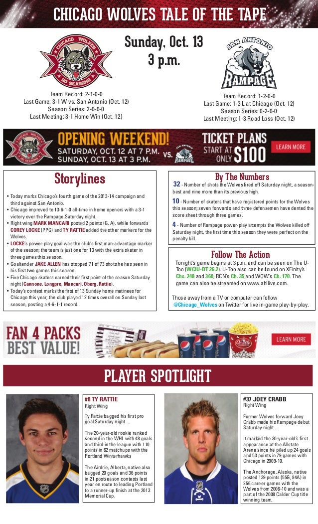 CHICAGO WOLVES TALE OF THE TAPE Sunday, Oct. 13 3 p.m. Team Record: 2-1-0-0 Last Game: 3-1 W vs. San Antonio (Oct. 12) Sea...