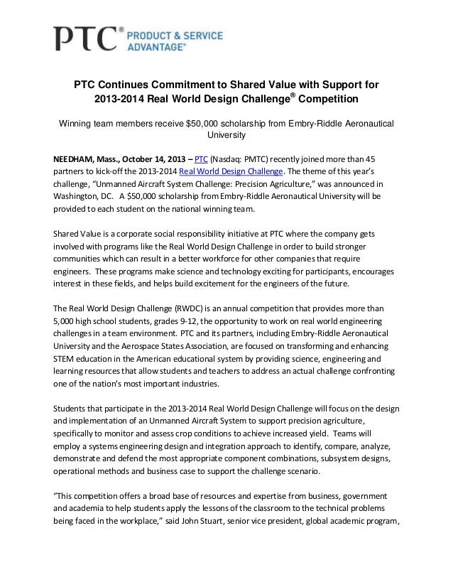 PTC Continues Commitment to Shared Value with Support for 2013-2014 Real World Design Challenge® Competition Winning team ...