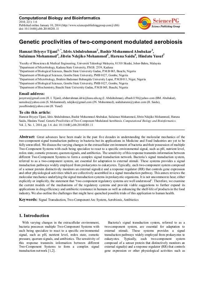 Computational Biology and Bioinformatics 2014; 2(1): 1-6 Published online January 10, 2014 (http://www.sciencepublishinggr...