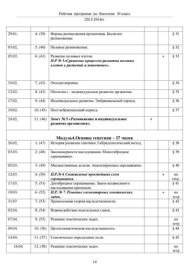 рп по биологии класс 13 § 30 14 Рабочая программа по биологии 10 класс