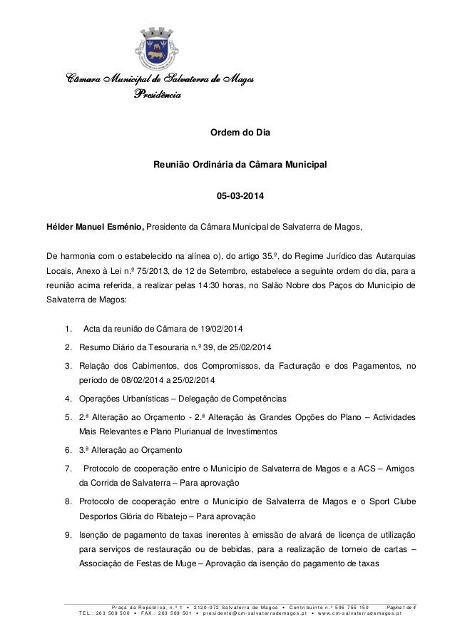 Câmara Municipal de Salvaterra de Magos Presidência Ordem do Dia Reunião Ordinária da Câmara Municipal 05-03-2014 Hélder M...