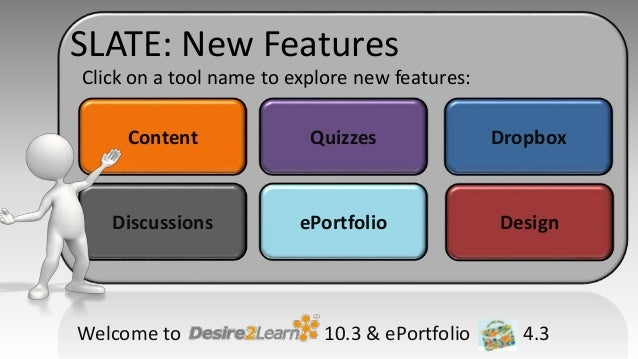 Content Quizzes Dropbox Discussions ePortfolio Design Click on a tool name to explore new features: Welcome to 10.3 & ePor...