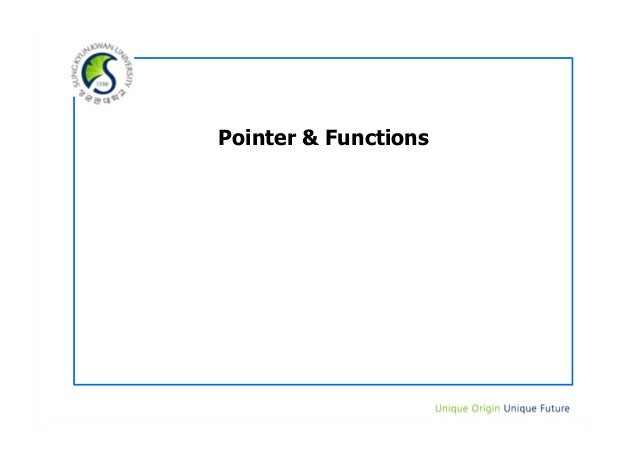 Pointer & Functions
