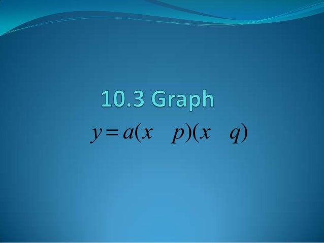 y = a(x - p)(x-q)