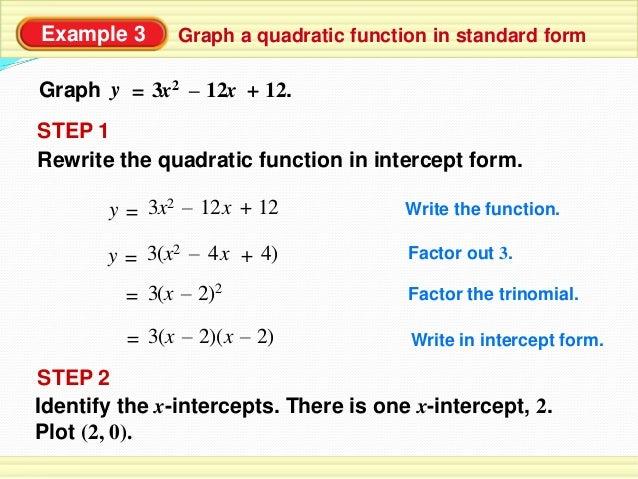 standard form to intercept form quadratic