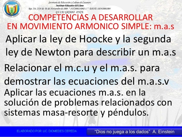 COMPETENCIAS A DESARROLLAR EN MOVIMIENTO ARMONICO SIMPLE: m.a.s Aplicar la ley de Hoocke y la segunda ley de Newton para d...