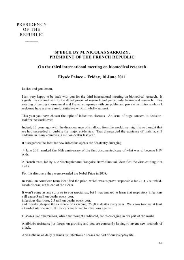 1/6 PRESIDENCY OF THE REPUBLIC ______ SPEECH BY M. NICOLAS SARKOZY, PRESIDENT OF THE FRENCH REPUBLIC On the third internat...
