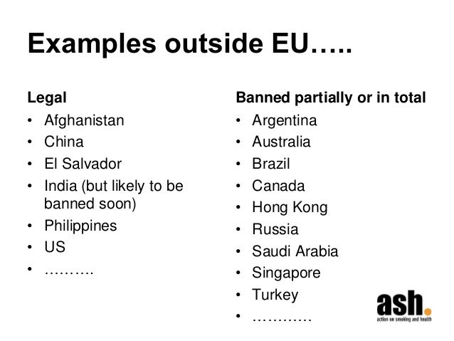 Examples outside EU…..  Legal  •Afghanistan  •China  •El Salvador  •India (but likely to be banned soon)  •Philippines  •U...
