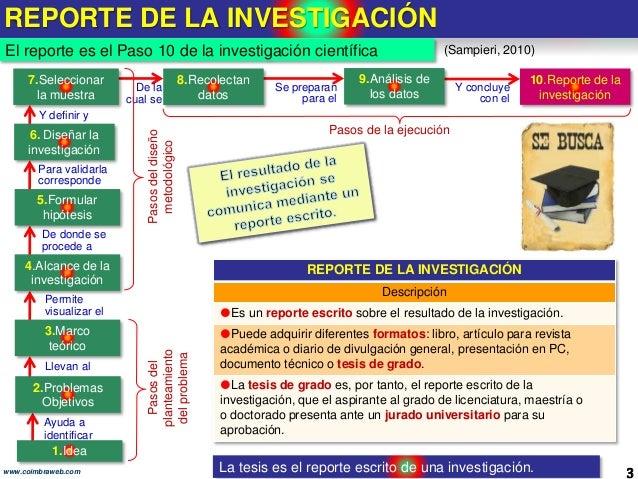10.Reporte de investigación. Los 10 pasos de la Investigacion Slide 3