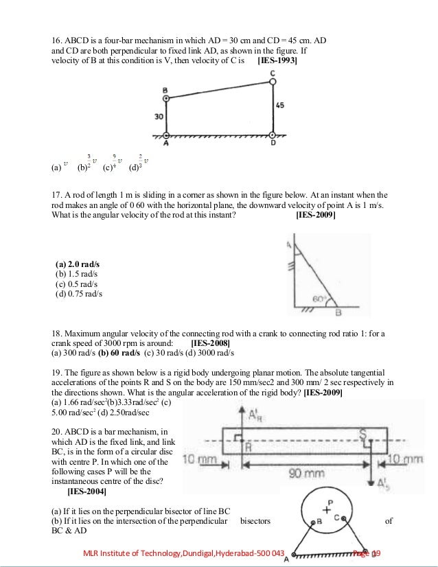 kinemtics of machinery objectives assignments tutorial problems – Angular and Linear Velocity Worksheet