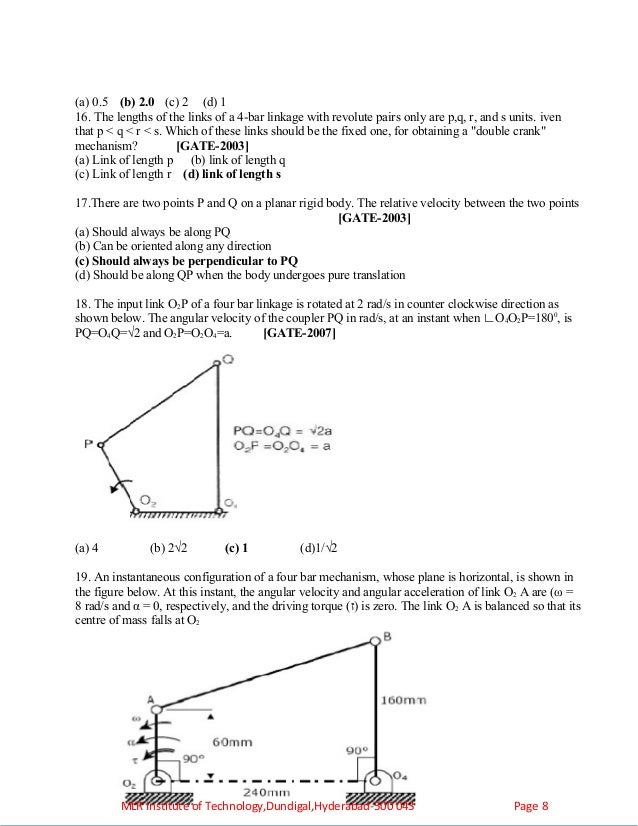 Kinemtics of machinery objectives assignments tutorial problems 8 ccuart Images