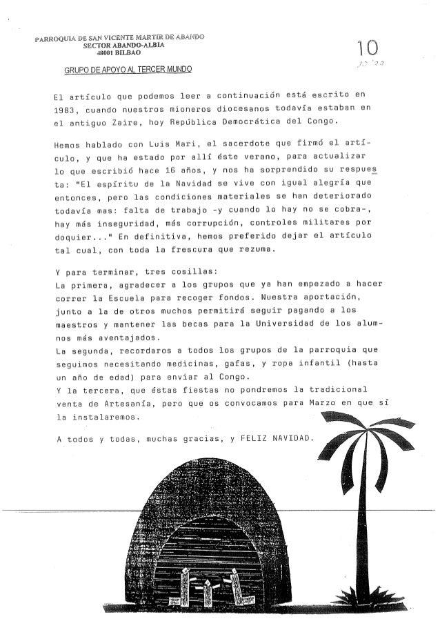 "PARROQUM DE SALIR VICENTE MARTE DE  SECTOR ABANDO-AIBEA 48001 BEBAO  x""': a  GRUPODEAPOYOALTERCERMUNDO  El articulo que po..."