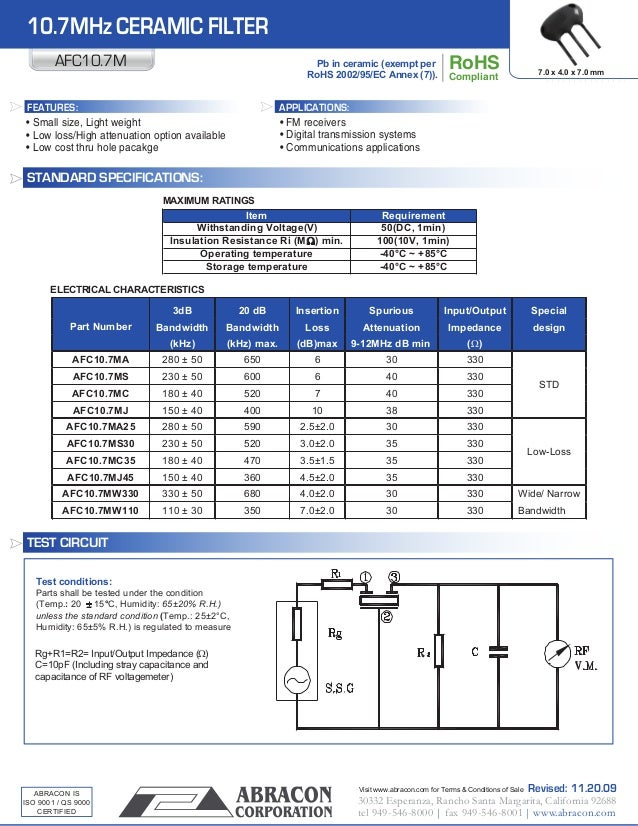 Data Sheet 10 7 Mhz Ceramic Filter