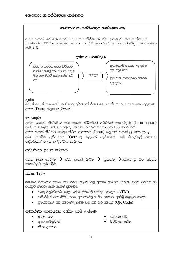 Grade 10 ICT Short Notes in Sinhala(2015)