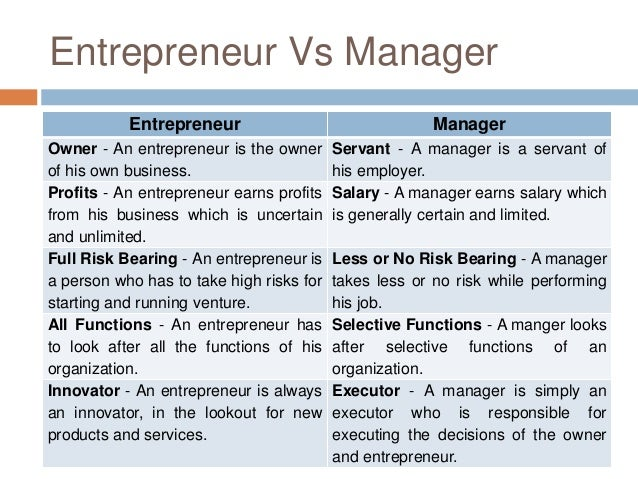 Difference between Entrepreneur and Manager
