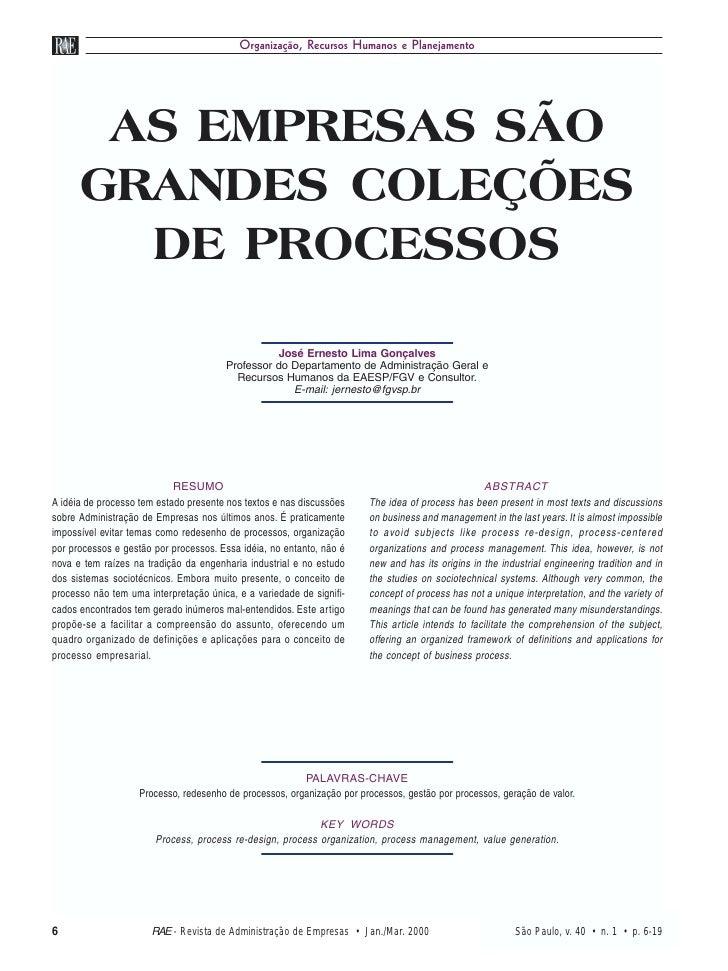 Organização, Recursos Humanos e Planejamento       AS EMPRESAS SÃO      GRANDES COLEÇÕES        DE PROCESSOS              ...