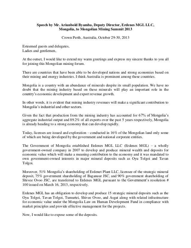 10 29-31 2013, PRESENTATION, Speech, Mr  Ariunbold Byamba
