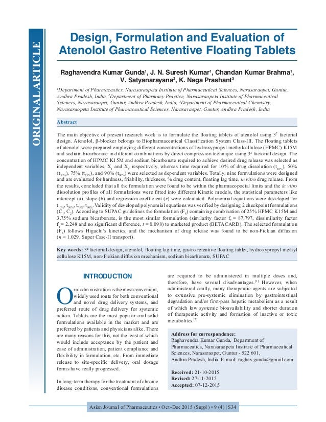 Gastro Tablets design formulation and evaluation of atenolol gastro retentive float
