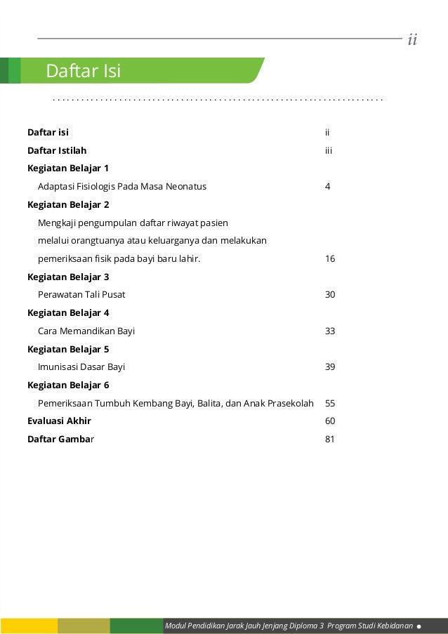 ii Modul Pendidikan Jarak Jauh Jenjang Diploma 3 Program Studi Kebidanan Daftar Isi . . . . . . . . . . . . . . . . . . . ...