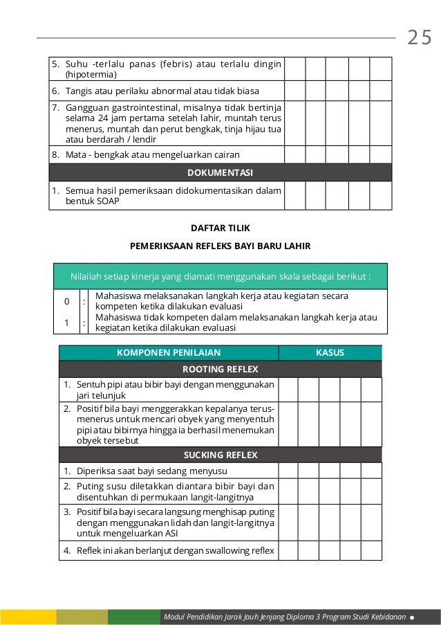 Modul Pendidikan Jarak Jauh Jenjang Diploma 3 Program Studi Kebidanan 25 5. Suhu -terlalu panas (febris) atau terlalu din...