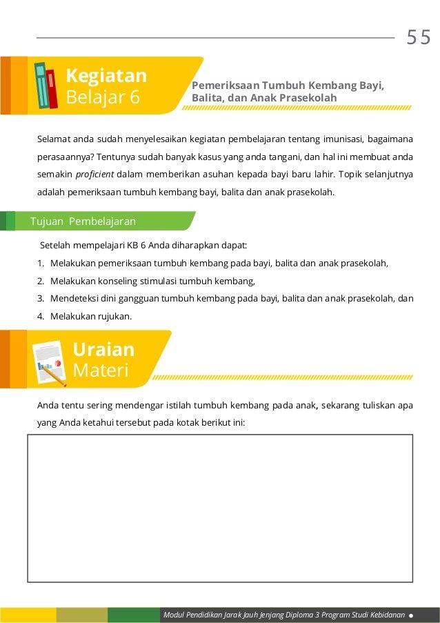 Modul Pendidikan Jarak Jauh Jenjang Diploma 3 Program Studi Kebidanan 55 Selamat anda sudah menyelesaikan kegiatan pembela...