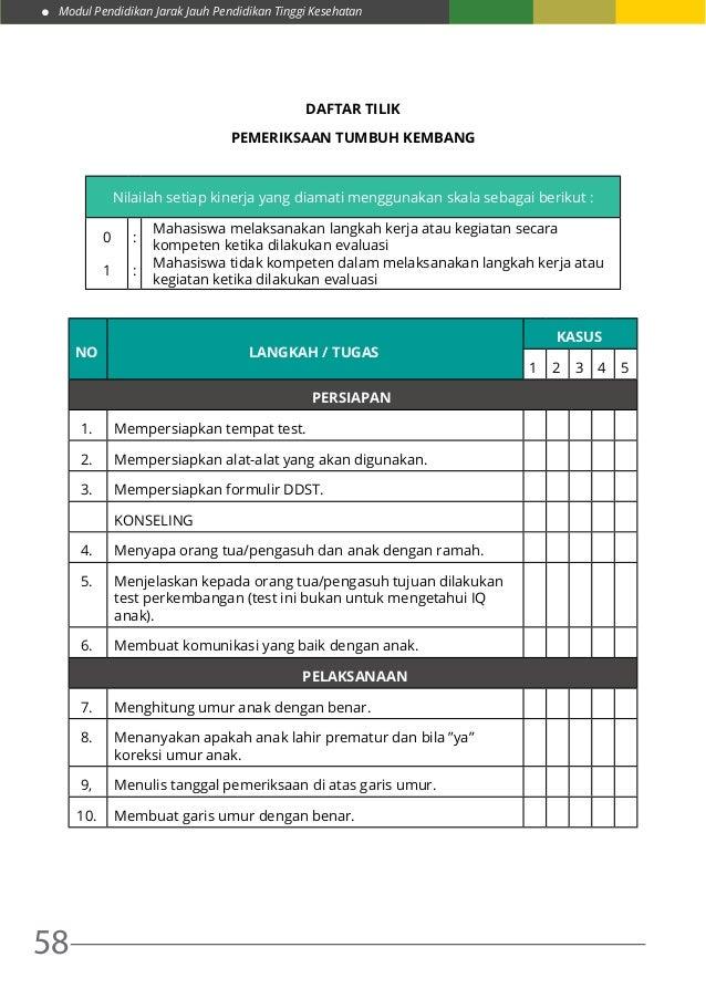 Modul Pendidikan Jarak Jauh Pendidikan Tinggi Kesehatan 58 DAFTAR TILIK PEMERIKSAAN TUMBUH KEMBANG Nilailah setiap kinerja...
