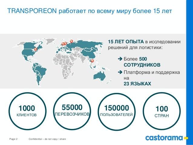 Page 2 Confidential – do not copy / share TRANSPOREON работает по всему миру более 15 лет 1000 КЛИЕНТОВ 55000 ПЕРЕВОЗЧИКОВ...