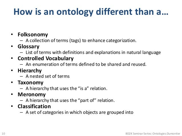 How is an ontology different than a… • Folksonomy – A collection of terms (tags) to enhance categorization. • Glossary – L...
