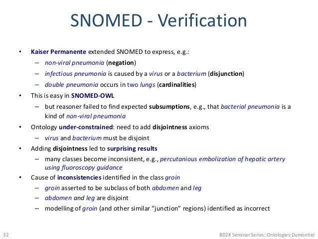 SNOMED - Verification • Kaiser Permanente extended SNOMED to express, e.g.: – non-viral pneumonia (negation) – infectious ...