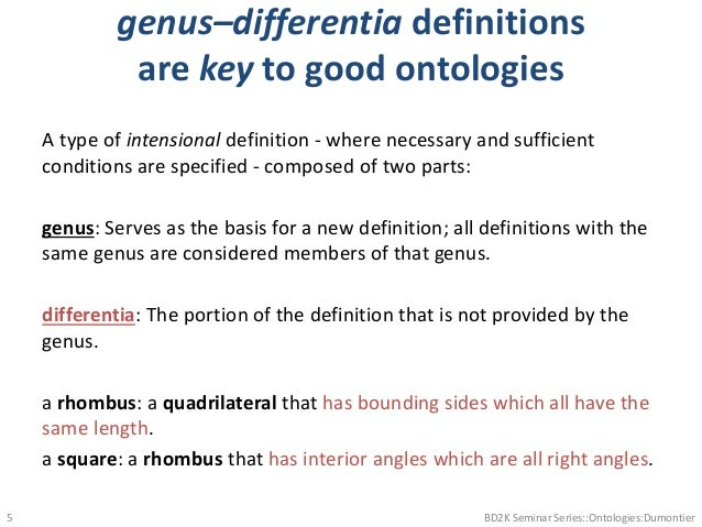 genus–differentia definitions are key to good ontologies A type of intensional definition - where necessary and sufficient...