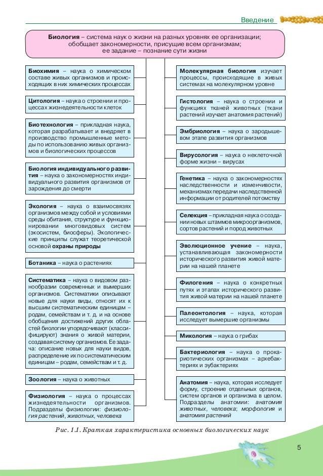 5 Введение Рис. 1.1. Краткая характеристика основных биологических наук Биология – система наук о жизни на разных уровнях ...