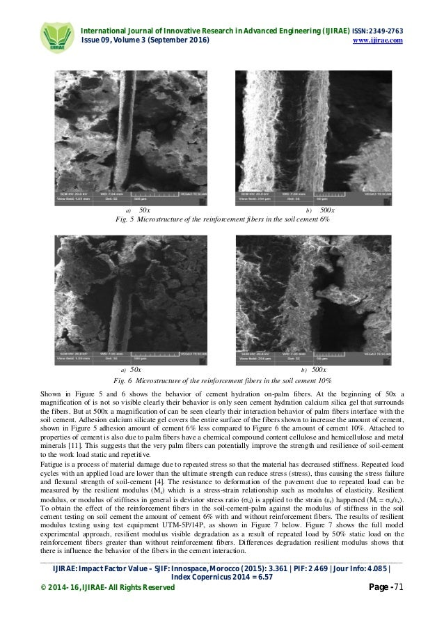 Fatigue study of ijuk aren interaction on soil cement for Soil research impact factor
