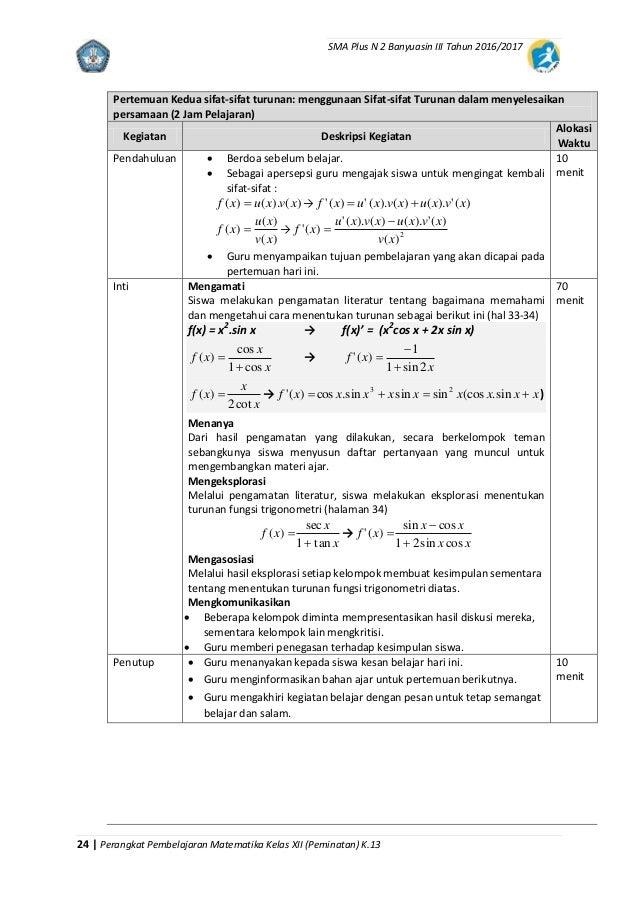 Rpp Matematika Peminatan Xii K 13
