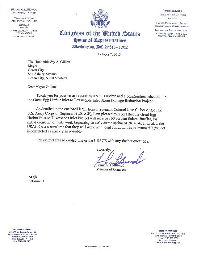 Rep LoBiondo response to Mayor Gillian re southend beach fill