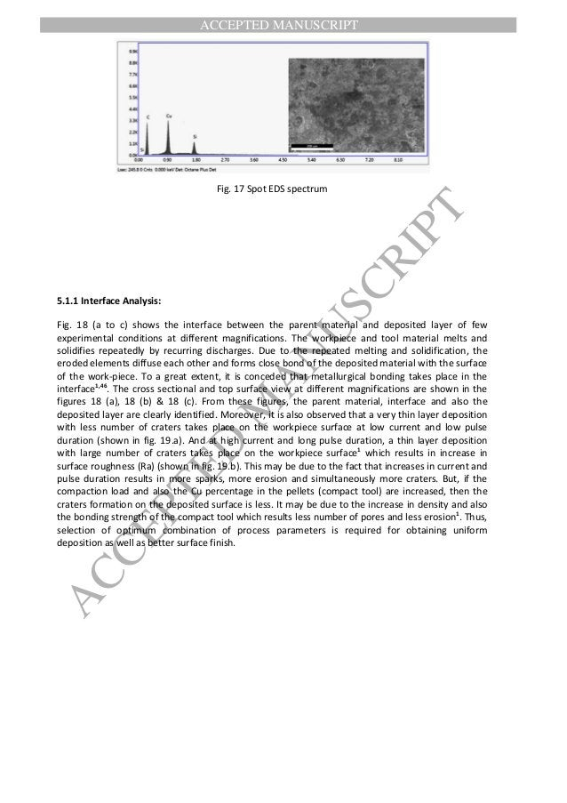 ACCEPTED MANUSCRIPT ACCEPTED M ANUSCRIPT Fig. 17 Spot EDS spectrum 5.1.1 Interface Analysis: Fig. 18 (a to c) shows the in...