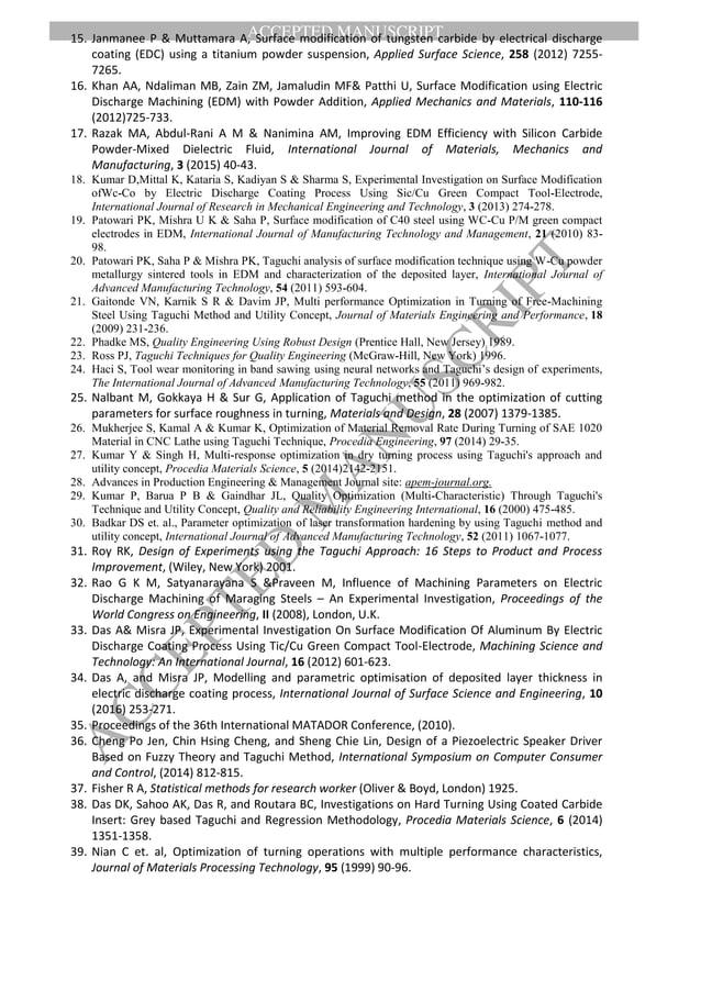 ACCEPTED MANUSCRIPT ACCEPTED M ANUSCRIPT 15. Janmanee P & Muttamara A, Surface modification of tungsten carbide by electri...